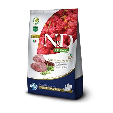 Ração N&D Quinoa Weight Management Cordeiro Cães Adultos de Todas as Raças 10,1kg