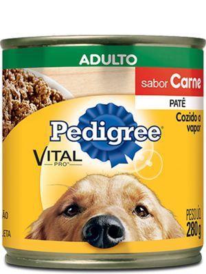 Ração Úmida Pedigree Lata Patê de Carne para Cães Adultos - 280g