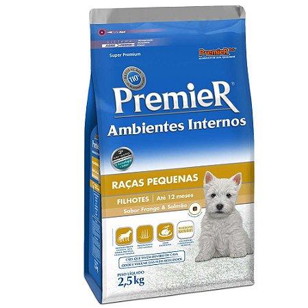 Ração Premier Ambientes Internos Cães Filhotes Frango e Salmão 2,5kg