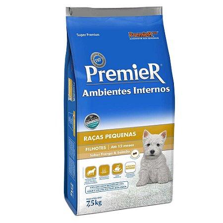Ração Premier Ambientes Internos Cães Filhotes Frango e Salmão 7,5kg