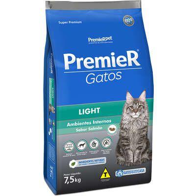 Ração Premier Gatos Ambientes Internos Light Adultos Salmão 7,5kg