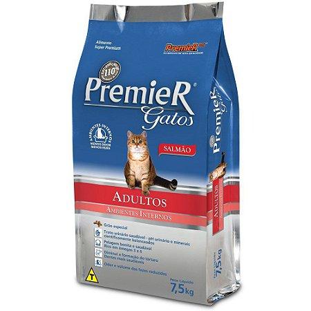 Ração Premier Pet Gatos Adultos Ambientes Internos Salmão 7,5kg