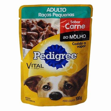 Ração Úmida Pedigree Sachê para Cães Adultos de Raças Pequenas Carne ao Molho - 100g  *Imagem Meramente Ilustrativa*