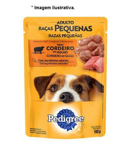 Ração Úmida Pedigree Sachê Cordeiro ao Molho para Cães Adultos de Raças Pequenas - 100g