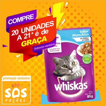 Ração Úmida Whiskas Sachê Atum para Gatos Adultos 85g