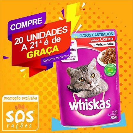 Ração Úmida Whiskas Sachê Carne ao Molho para Gatos Castrados 85g