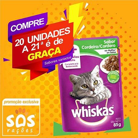 Ração Úmida Whiskas Sachê Cordeiro para Gatos Adultos 85g