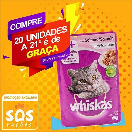Ração Úmida Whiskas Sachê Salmão ao Molho para Gatos Adultos 85g