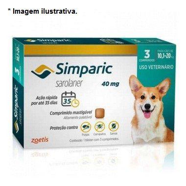 Antipulgas Zoetis Simparic Combo 40mg para Cães 10,1 a 20Kg - 3 comprimidos
