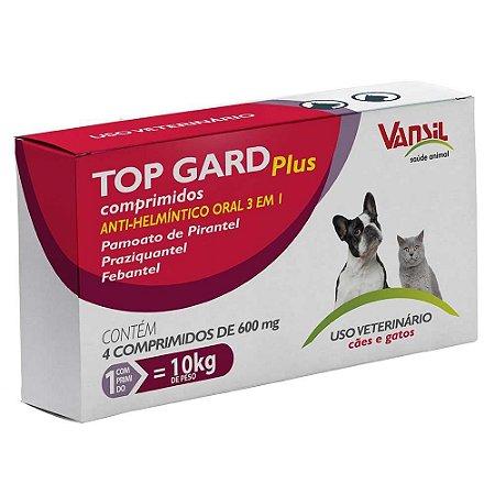 Vermífugo para Cães e Gatos Top Gard Plus - 4 Comprimidos 600mg         *Imagem Meramente Ilustrativa*