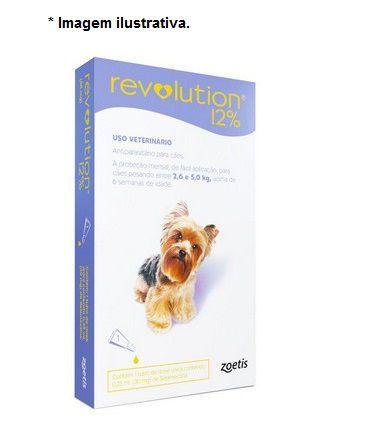 Antipulgas e Carrapatos Zoetis Revolution 12% para Cães de 2,5 a 5 kg - 30 mg 1 unidade
