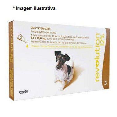Antipulgas e Carrapatos Zoetis Revolution 12% para Cães de 5 a 10 Kg - 60 mg 3 unidade