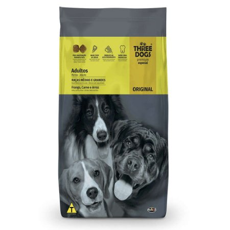 Ração Three Dogs Original Frango, Carne e Arroz para Cães Adultos Raças Médias e Grandes 20kg