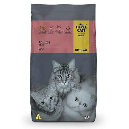 Ração Three Cats Original Sabor Carne para Gatos Adultos 10,1kg