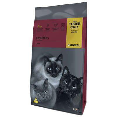 Ração-Three-Cats-Original-Sabor- Carne-para-Gatos-Adultos-Castrados-10,1kg