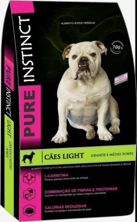 Pure Instinct Adulto Light Raças Médias e Grandes 15kg - Super Premium