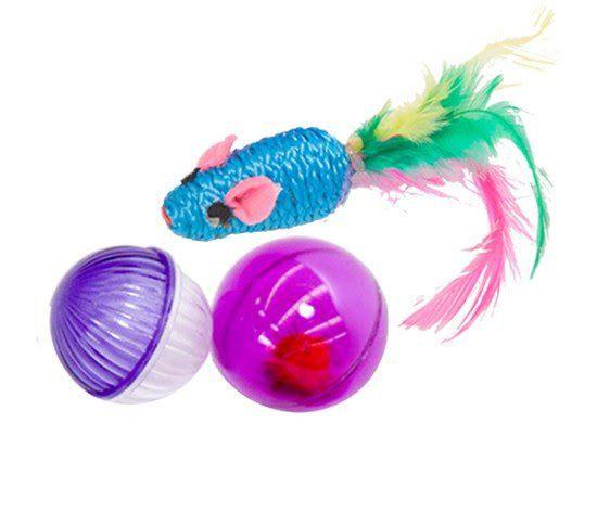 Brinquedo Kit Ratinha + 2 Bolinhas  (Kit sortido roxo 3 unid)