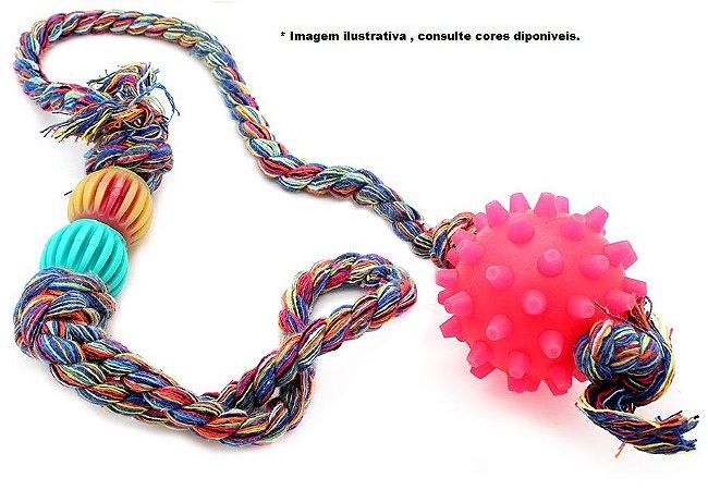 Brinquedo Corda com Bola Adestramento Cães +-75cm