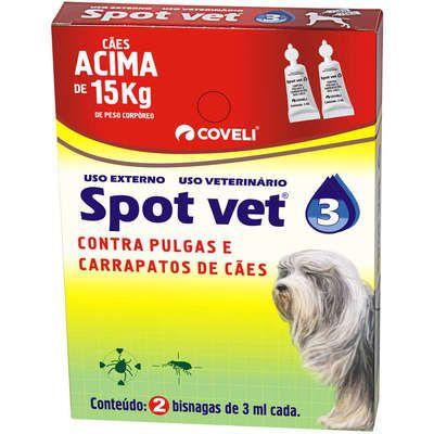 Antipulgas Coveli Spot Vet 3 para Cães Acima de 15 Kg 3 mL 2 Bisnagas (Pulgas 60 dias/carrapato 30 dias)