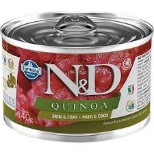 N&D Lata Quinoa Skin & Coat Pato & Coco para Cães Adultos 140g