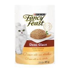 Racão Úmida Fancy Feast Sachê Demi Glace com Frango para Gatos Adultos