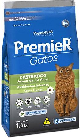 Ração Premier Gatos Castrados acima de 12 anos Frango Ambientes Internos 1,5kg