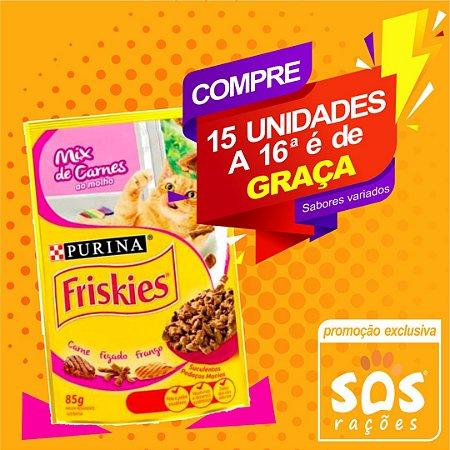Ração Úmida Nestlé Purina Friskies Sachê Mix de Carnes ao Molho para Gatos 85gr