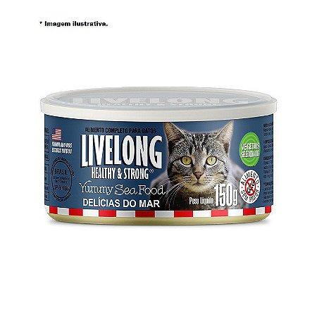 Livelong Healthy & Strong Lata Alimento completo para Gatos Delicias do Mar 150g