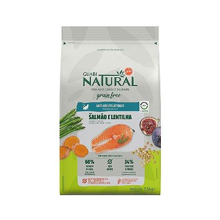 Ração Guabi Natural Grain Free Salmão e Lentilha para Gatos Castrados 7,5kg
