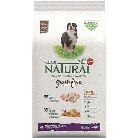 Ração Affinity Guabi Natural Grain Free Frango e Lentilha para Cães Adultos Raças Médias 12kg