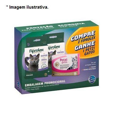 Kit Antipulga com 02 Fiprolex Gato Ganhe 01 Petzi Gatos com  4 comprimidos