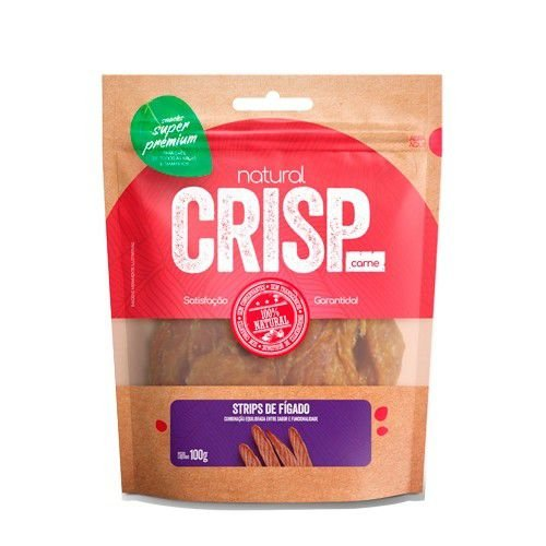 Snacks Super Premium Natural Crisps Cães Strips de Fígado 100g