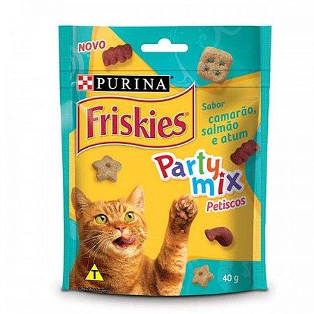 Petisco Nestlé Purina Friskies Party Mix Camarão, Salmão e Atum para Gatos Adultos 40gr