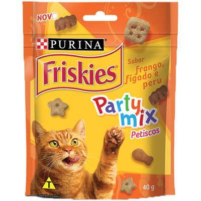Petisco Nestlé Purina Friskies Party Mix Frango, Fígado e Peru para Gatos Adultos 40gr