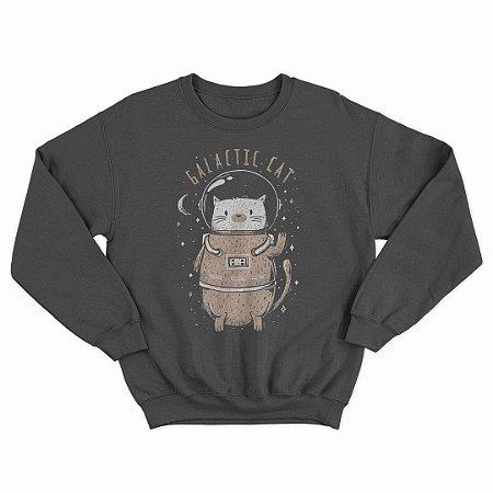 Moletom Preto Space Cat (Unissex)