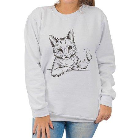Moletom Branco Cool Cat (Unissex)