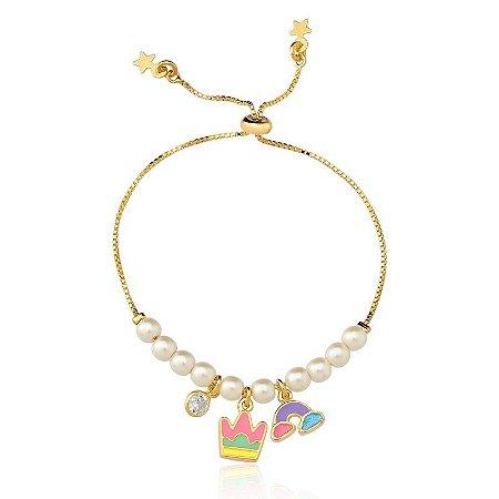 Pulseira Shambala Kids - Pingente com coroa e arco-íris folheada a ouro