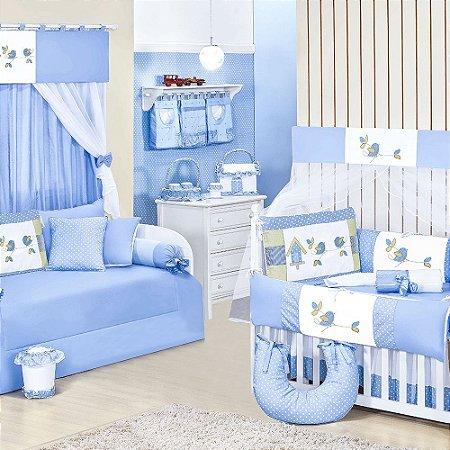 Quarto para Bebê Passarinhos Azul