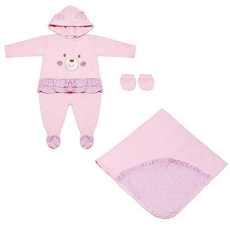 Saída Maternidade Teddy Bear Rosa 3 Peças