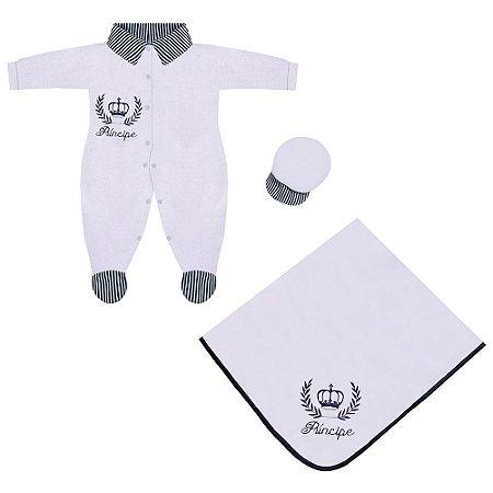 Saída Maternidade Príncipe Marinho Listrado 3 Peças