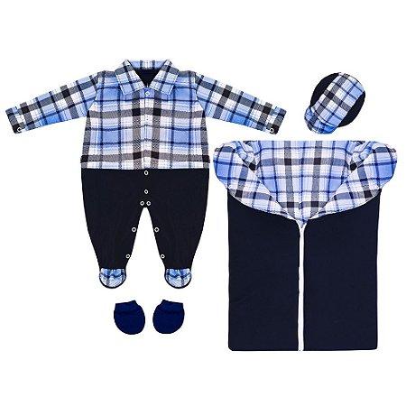 Saída Maternidade Xadrez Azul Marinho 4 Peças