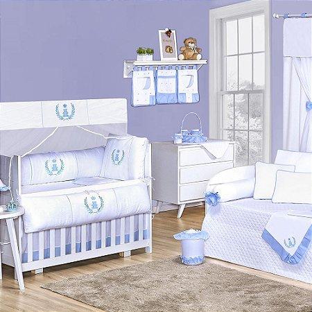 Quarto para Bebê Sem Cama Babá Realeza Azul Bebê