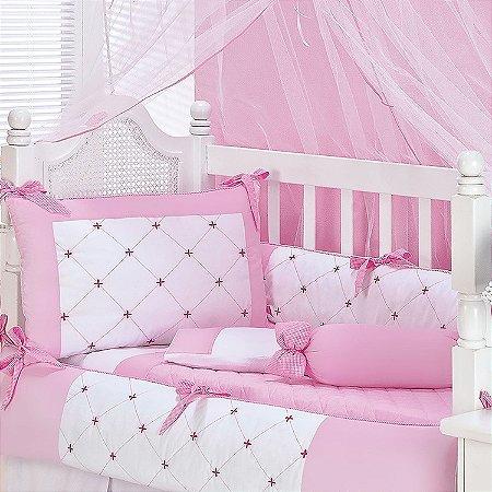 1c035310b5 Kit Protetor de Berço Menina 9 Peças Ateliê Rosa - Mega Loja do Bebê ...
