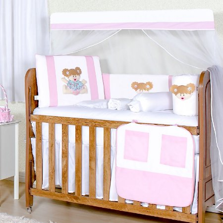 Kit Berço Bebê Rosa 11 Peças