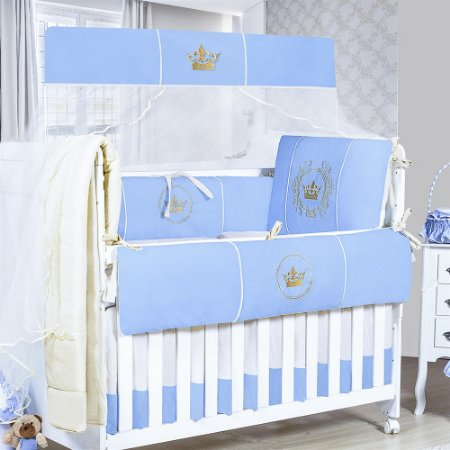 Kit Berço Brasão Azul Bebê 09 Peças