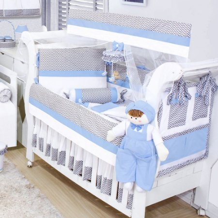 Kit Berço Chevron Azul Bebê 09 Peças