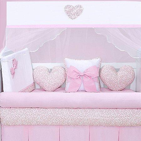 Kit Berço Coração Rosa Laço 10 Peças
