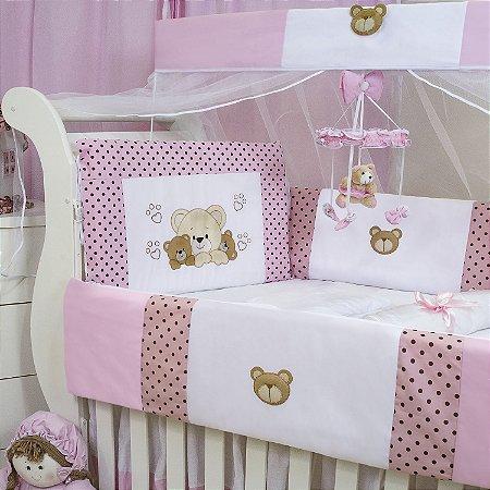 Kit Berço Família Urso Rosa 09 Peças