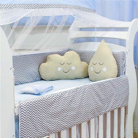 Kit Berço Nuvem e Gotinha Chevron Azul Bebê com Almofada Caqui 10 Peças