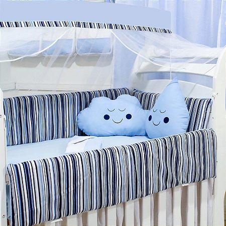 Kit Berço Nuvem E Gotinha Gustavo Com Almofada Azul Bebê